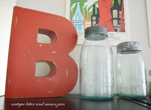 letter B and mason jars